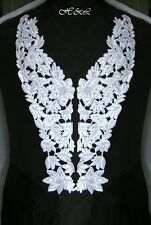 Pair White Heavy Guipure Venise Lace Floral Bridal Dress APPLIQUE Trim Motifs