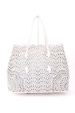 AZZEDINE ALAIA Vienne White Cabas Leather Medium Laser Cut Out Tote Bag Purse