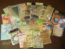 Large MIXED LOT Scrapbooking Embellishment Stickers Rub On Chipboard Rhinestone
