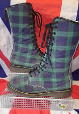 England Vintage*Calf High Blackwatch Green Blue Tartan Dr Doc Martens*Vegan*UK 7