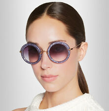 MIU MIU SMU 13N Noir Round Acetate Sunglasses in Purple Glitter