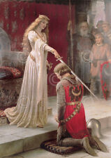 Edmund Leighton The Accolade Medieval Knight Queen Romantic Print Poster 16x20