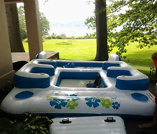 Floating Island Party Seat Sofa Couch Cooler Cup Holder Wading pool lounge FUN