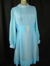 Vtg 60s Blue Chiffon Layers Party Dress w/Rhinestones buckle-Bust 37/S-M