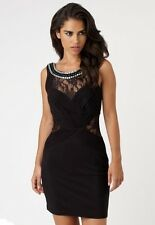 New LIPSY Jewel Mesh, Ruched Panel Bodycon Dress BLACK UK18 RRP £65