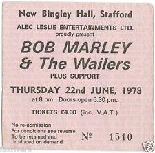 BOB MARLEY & THE WAILERS Concert Ticket - New Bingley Hall, Stafford 1978