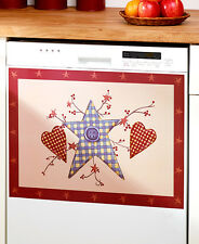 Primitive Hearts & Stars Dishwasher Magnet Cover Country Patchwork Button Decor