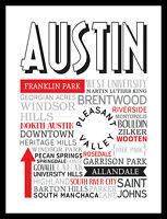 Professionally FRAMED Austin TX 16x12 Art Print Poster Wall Graphic