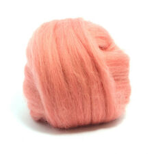 100g DYED MERINO WOOL TOP SALMON PINK DREADS 64's SPINNING FELTING ROVING