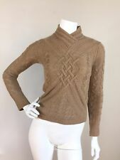 SAKS FIFTH AVENUE Sz XS Camel 100% Cashmere Cable Knit Sweater