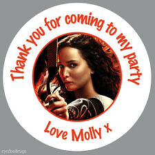 35 x Personalised The Hunger Games Birthday Stickers Party Bag Thank You -N410