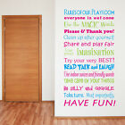 Playroom Rules Family wall stickers Decal Home Kids Removable Art Vinyl Decor