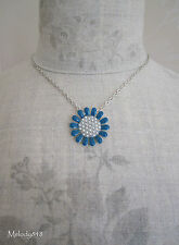 PILGRIM Necklace QUIRKY CHARM Daisy Flower Enamel & Pearls Blue/Silver BNWT