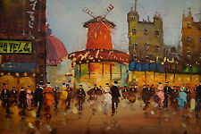 Vintage Moulin Rouge Paris Oil Painting by Italian artist Spinelli