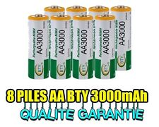 8 PILES ACCUS RECHARGEABLE AA NI-MH 3000mAh 1.2V LR06 MIGNON - DIRECT DE FRANCE