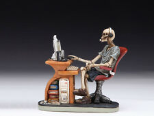 SKELETON AT DESK / COMPUTER TABLE SKULL FIGURINE STATUE  HALLOWEEN