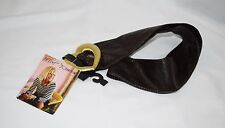NEW NWT Designer BETSEY JOHNSON Wide Brown Cinch Belt Gold Heart Buckle M/L