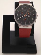SKAGEN MEN'S ANCHER STAINLESS CHRONOGRAPH WATCH W/ BROWN LEATHER BAND SKW6099