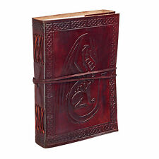 Fair Trade Handmade Celtic Sitting Dragon Leather Journal Notebook Diary