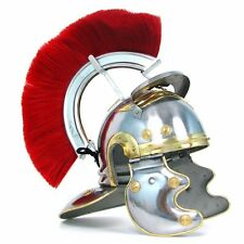 Roman Soldier Centurion Helmet with Red Plume Armor Gladiator Costume SCA Armour