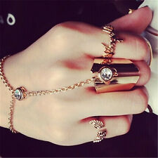 Women Vintage Link Midi Ring Set Chic Crystal Knuckle Ring Chain Finger Rings JB