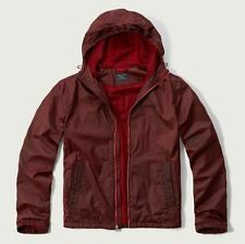 NWT ABERCROMBIE & FITCH MENS FLYWEIGHT WINDBREAKER JACKET RED MED, RETAIL $98