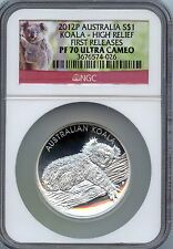 2012 Silver High Relief 1st release Koala dollar (NGC PF70 Ultracameo)