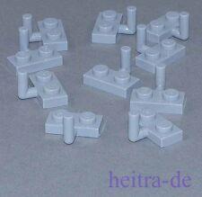 LEGO - 10 x Platte hellgrau 1x2 mit Haken / Platten mit Haken / 4623 NEUWARE