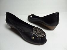 $285 Tory Burch Amanda Demi Wedge Women pebbled leather shoe heel sandal Sz 8 M