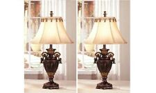 "Set of 2 Table Lamps 32""H in Dark Bronze Resin Base Finish with Shade"