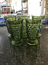 5 Vintage Green Indiana Glass Drinking Glasses 16 oz Cubist Whitehall Tumblers