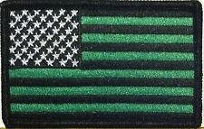 USA AMERICAN Flag Iron-On Patch Morale Black & Green Kelly Version Black Border