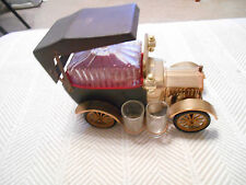 Vintage Golden Crown Car Decanter Music Box-Works, with 4 shot glasses, Ford