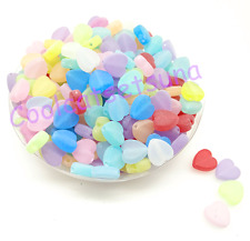 100Pcs 9mm Mixed Color  Frosted Acrylic Heart Shape Spacer Loose Beads