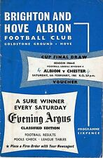 Football Programme BRIGHTON & HOVE ALBION v CHESTER Feb 1965