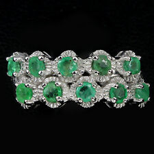 GENUINE GEM RICH GREEN BRAZILIAN EMERALD 14K ON STERLING 925 SILVER BAND RING #8
