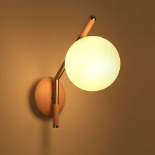 Minimalist Nature Wooden Wall Sconces Glass Ball Metal Bedside Lamp Wall Light