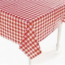 """Plastic Red And White Checkered Table Covers 52"""" x 90"""" Comes Sealed!"""