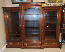 19th Century Victorian Bookcase Renaissance Revival Walnut Breakfront Cabinet