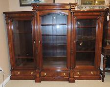 19th Century Victorian Bookcase Renaissance Revival Walnut Breakfront Cabinet