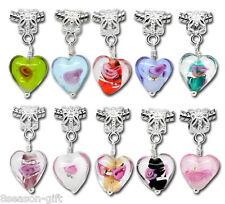 20 Mixed Glass Heart Dangle Beads Fit Charm Bracelet B09908