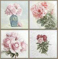 4x Single Table Party Paper Napkins for Decoupage Vintage Rose Bouquet Mix