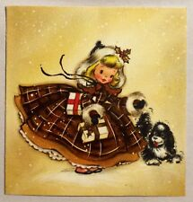 Hallmark Adorable Little Girl Brown Petticoat Vintage Christmas Greeting Card