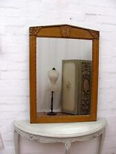 STRIKING ANTIQUE FRENCH ART DECO GESSO MIRROR - ORIGINAL SCUMBLE PAINT  C1930