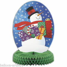 "14"" Christmas Snowman Honeycomb Centrepiece Table Decoration"