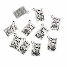 10pcs Cookbook Text Bead Charms Tibetan Silver Pendant Fit DIY 11*17mm