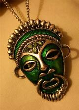 Handsome Green Enameled Roped Detail Native Mask Aborigine Pendant Necklace
