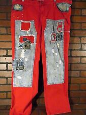 GRINDHOUSE Denim Jeans Distressed Red Blue Patched Splatter NEW W 38 L 32