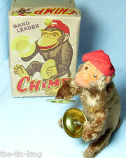 SPLENDID ALPS TOYS JAPAN Clockwork BAND LEADER Chimp CIMBALI Scimmia c1950s