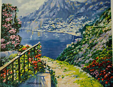 """HOWARD BEHRENS THE ROAD TO POSITANO SERIGRAPH #HC 31/50 SIGNED W/COA 20X16 1/2"""""""